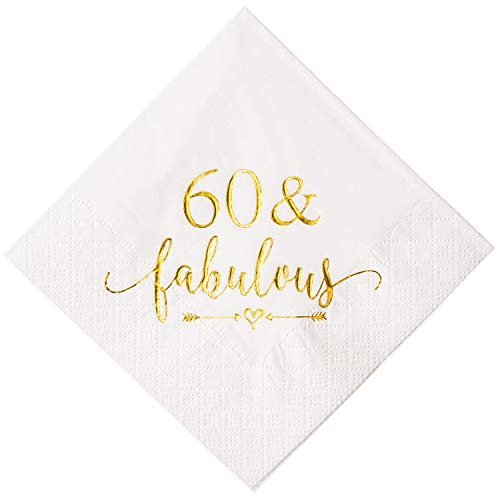 (Crisky 60 and Fabulous Cocktail Napkins Gold for Women 60th Birthday Decorations, 60th Birthday Bevergae Dessert Table Supplies, 50Pcs,)
