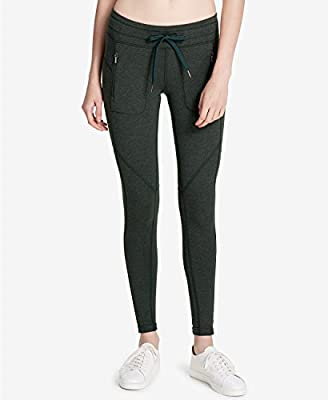 Calvin Klein Women's Performance Active Heathered Cotton Tight Fit Drawstring Leggings, Pine Heather, XS