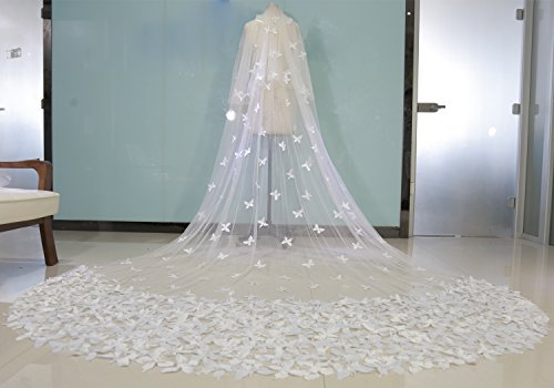 Fenghuavip 2T Wedding Veils Cathedral Veil for Bride with Butterfly ...
