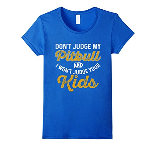 Pit Bull Ladies T-shirts (Womens Tee Shirt for Pitbull Parents and Dog Moms and Dads Medium Royal Blue)