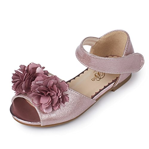 Alicorn Girl's Rose Ankle-Strap Floral Jelly Sandals Flat Shoes 12.5M ()
