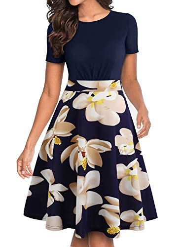 (BOKALY Women's Vintage Pleated Party A-Line Dress Elegant Casual Work Dresses (S, BK501-Navy Floral 01))