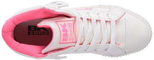 British Knights Roco - zapatillas deportivas altas de material sintético mujer blanco - Weiß (Wht-Neon Pink 19)