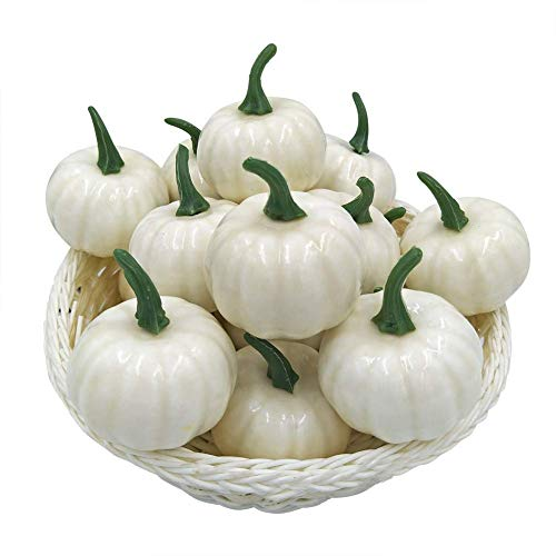 FUNSECO White Pumpkins Decorating Bulk, Halloween Artificial Mini Small Pumpkin Fall Autumn Thanksgiving Garden Home Harvest Decor Crafts - Pack of 12 -