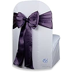 Sparkles Make It Special 50 pcs Satin Chair Cover Bow Sash - Plum Purple - Wedding Party Banquet Reception - 28 Colors Available
