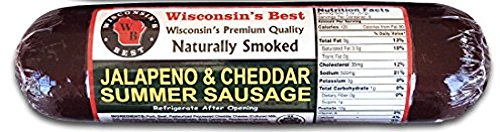 WISCONSIN'S BEST - Holiday Smoked Summer Sausage - JALAPENO & 100% WISCONSIN CHEDDAR CHEESE - Case of 12 - Naturally Hickory Smoked - 12 oz ​- Slice and Eat by Wisconsin's Best