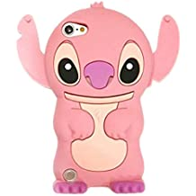 Ipod Touch 6 case, Ipod Touch 6 Generation Cover,WGOOD 3D Cartoon Alien Dog Pink Soft Silicone Rubber Protection Skin Case Cover for Apple Ipod Touch 6