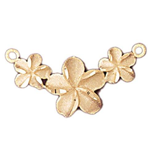 14K Yellow Gold Plumeria Flower Lei Necklace - 13 mm