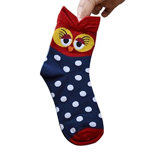 Cartoon Socks, Rukiwa 3D Animals Striped Women Owl Footprints Cotton Socks Floor (Red) ()