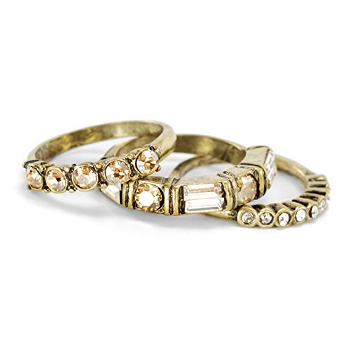 Inspirational Golden Swarovski Crystal Boho Harmony Stack Ring Bands - Set of 3 Stacking Rings
