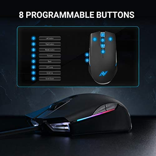 ABKONCORE Gaming Mouse A900 [16,000 DPI], Wired, USB Computer Mice with 8 Programmable Buttons, PWM 3389 Sensor, RGB Backlit, Comfortable Grip Both Handed Mice for Laptop, PC, Mac, Windows 41rpH 6BfTL