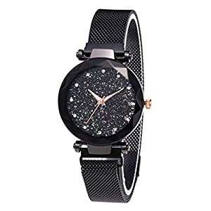 Womens Crystal Starry Sky Quartz Watches- Diamond Cutting Glass Mirror, with Magnetic Buckle Band Elegance Women's Wrist…