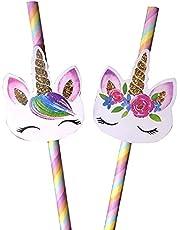 TaoQi 20 stuks cartoon-eenhoorn regenboog papieren rietjes voor de bruiloft, servies voor kinderverjaardagen, decoratie-benodigdheden wegwerp rietjes 19,9 cm