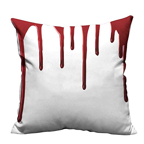 (YouXianHome Zippered Pillow Covers Horror Spooky Halloween Zombie Crime Scary Help me Themed Illustration Red White Decorative Couch(Double-Sided Printing) 27.5x27.5)