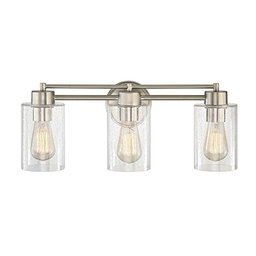 Seeded Glass Bathroom Light Satin Nickel 3 Lt by Design Classics
