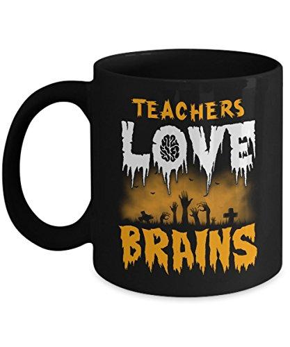 Funny College Guy Halloween Costume Ideas (TeeCentury Teachers Love Brains Halloween Mug 11oz)