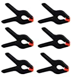 COOPIC 6-Pack 2.5 inch /6.5cm Black Backdrop Clamps for Nylon Muslin Paper Photo Background, Reflectors and Other Photography Purpose