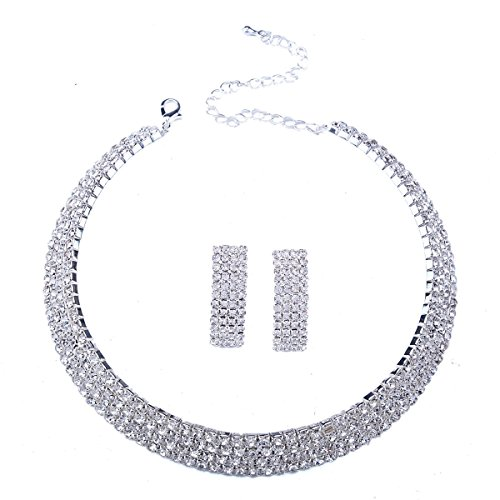Stuffwholesale Crystal Rhinestone Choker Necklace with Earrings 4-Row Cup Chain Women Jewelry (Style #2) ()