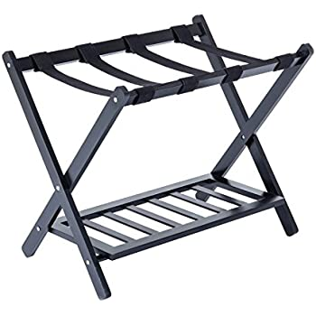 Mecor wood folding luggage rack stand suitcase organization with shoe shelf for home for Folding luggage racks bedroom
