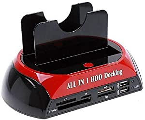 USB 2.0 to 2.5 3.5 Inch SATA IDE Dual Slots External Hard Drive Docking Station with All N 1 Card Reader and USB 2.0 Hub