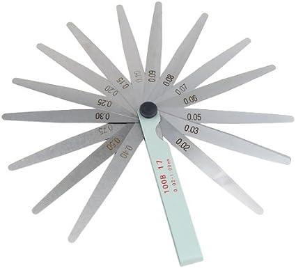 TRIXES Galga de 17 Hojas de Aluminio, Medida 0,02-1,0 mm. Herramienta para medir bujías