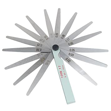 TRIXES Galga de 17 Hojas de Aluminio, Medida 0,02-1,0 mm. Herramienta para medir bujías: Amazon.es: Coche y moto
