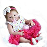 LILITH 18 Inch45cm Lovely Realistic Looking Reborn Baby Doll Soft Full Body Silicone Vinyl Newborn Girl Dolls with Tiered Dress and Hairband Simulation Girl Doll Magnet Mouth Child Xmas Birthday Gift (C)