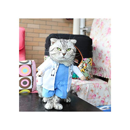 Beans Seven Funny Cat Costume Cowboy/Police/Nurse Suit Cat Clothes Halloween Costume Puppy Clothes Suit Dressing Up Party Clothing for Cats,Doctor,M ()