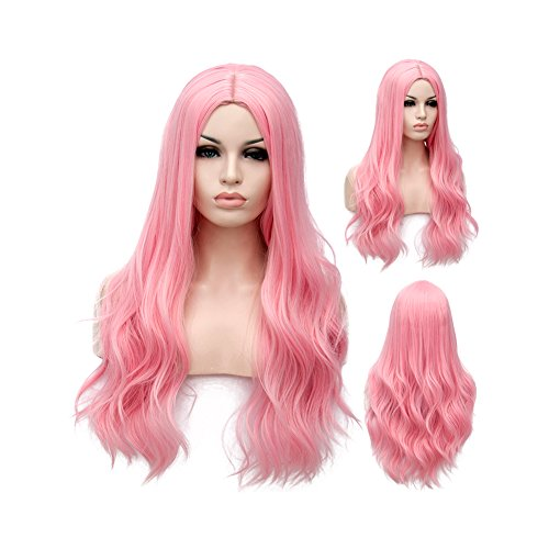 Winshope Pink Long Wig For Girls Women Wavy Curly Costume Hair Wigs Cosplay Heat Resistant ()