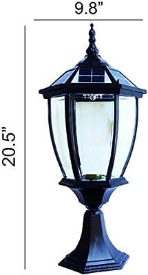 The Round Extra Large Solar Post Cap Lights or Solar Pillar, Diameter: 9.8 Inch; Height: 20.5 Inch. Solar Powered Post Caps. Elegantly Designed Solar Light Post Caps