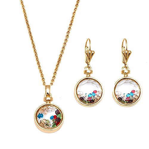 Gem Stone King Gold Plated Brass Multi Color Floating Crystals Round Drop Pendant and Earrings Set ()