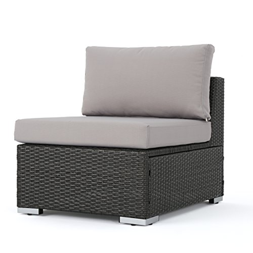 Francisco Outdoor Wicker Sectional Sofa Seat W/Cushions (Gray/Silver)