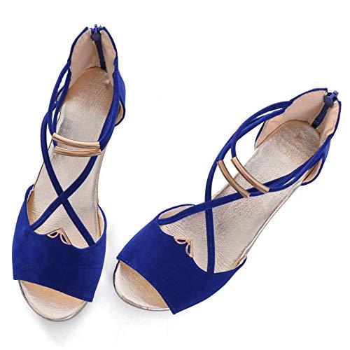 Hee grand Women Roman Style Open Toe Cross Strap Flat Sandals US 6 Blue