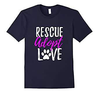 Mens Rescue Adopt Love T-Shirt Funny as Dog or Cat Lover Gift 2XL Navy