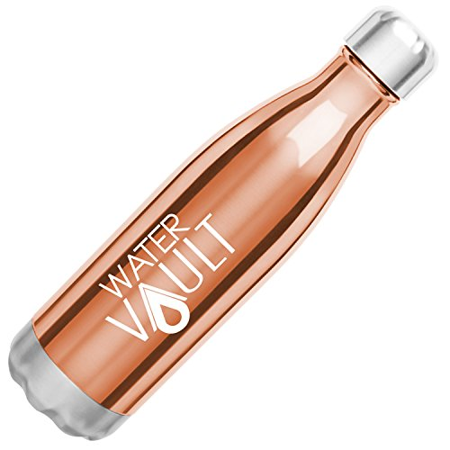 WaterVault Stainless Steel Water Bottle, Vacuum Insulated Double Wall, Keep Hot to 12, Cold to 24 Hours - Soda Classic Cola Shaped Thermos Bottle (Copper 17oz)
