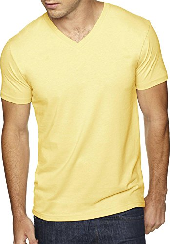 Hat and Beyond Mens V Neck Tee Solid Fit T Shirts S-2XL 1B0004 (Large,1hc04_ 1hc04_Squash) ()
