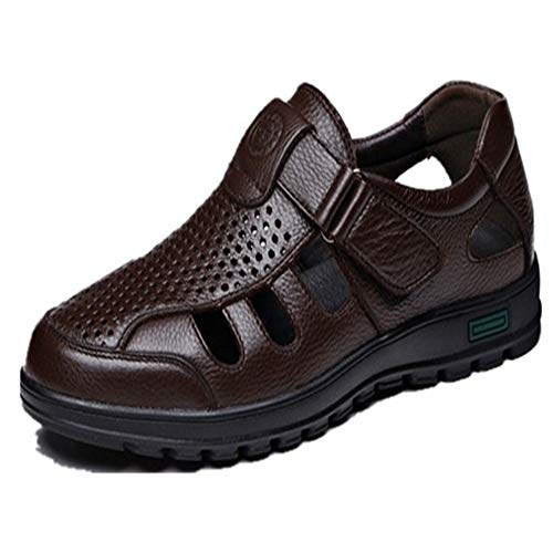 Sunny&Baby Oxford Shoes for Men Formal Shoes Hook&Loop Strap Style OX Leather Breathable Hollow Outsole Anti-Skid (Color : Brown, Size : 7.5 D(M) US) ()