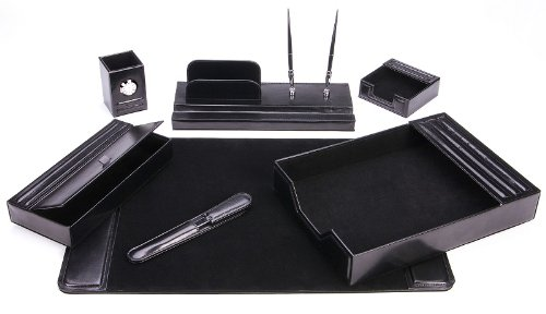 Majestic Goods Leather Desk Set, 7 Piece, Black (105-DSG7K)