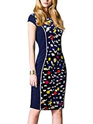 Sunblume Womens Summer Elegant Short Sleeve Colorblock Party Work Bodycon Dress (Small, Lemon Green)