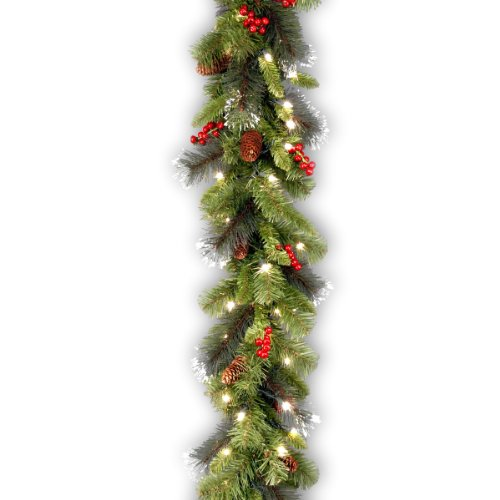 National Tree 9 Foot by 10 Inch Crestwood Spruce Garland with Red Berries, Cones, Snowflakes and 50 Battery Operated Soft White LED Lights -
