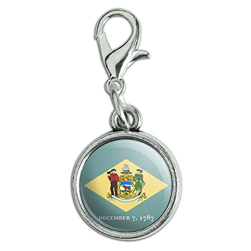 - Antiqued Bracelet Pendant Zipper Pull Charm with Lobster Clasp State Flag - Delaware State Flag