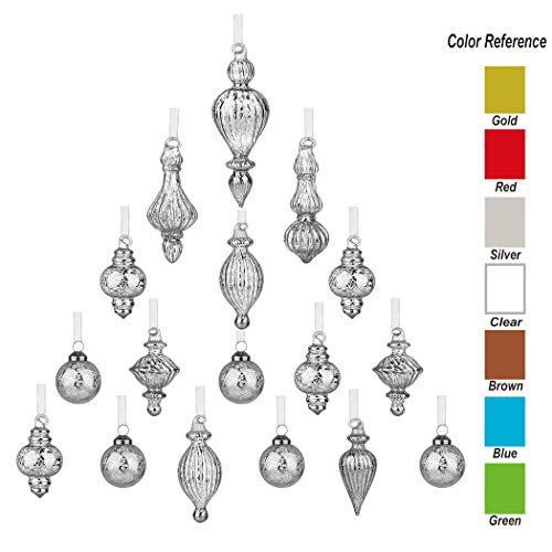 youseexmas Mouth Blown Glass Christmas Ornaments Pack of 17 Small Size (Silver)