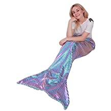 "Mermaid Tail Blanket for Adults,Plush Soft Flannel Fleece All Seasons Sleeping Blanket Bag,Shiny Fish Scale Design Snuggle Blanket Best Gifts for Girls,Women,25""×60"""