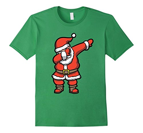 Christmas Shirts - Mens Dabbing Santa T-Shirt - Funny Santa Claus Christmas Dab Tee Medium Grass