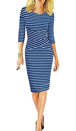 REPHYLLIS Women 3/4 Sleeve Striped Wear to Work Business Cocktail Party Summer Pencil Dress Blue S