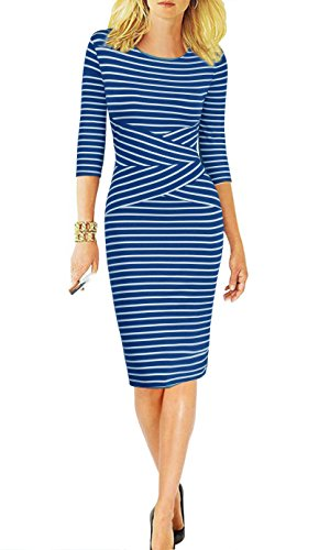 REPHYLLIS Women 3/4 Sleeve Striped Wear to Work Business