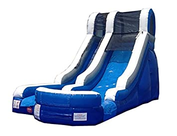 blue wet or dry inflatable water slide commercial moonwalk includes 15 hp blower and - Inflatable Water Slide