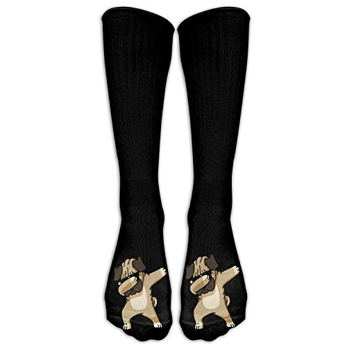 FUNINDIY Fashion Dabbing Pug Hip Hop Costume Cosply Socks Halloween Funny Champion Athletic Leggings Knee High Stockings ()