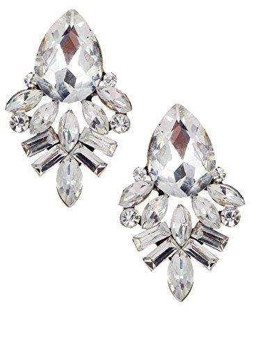 - Art Deco Antique Vintage Style Pear Bridal Wedding Formal Rhinestone Cluster Statement Earrings
