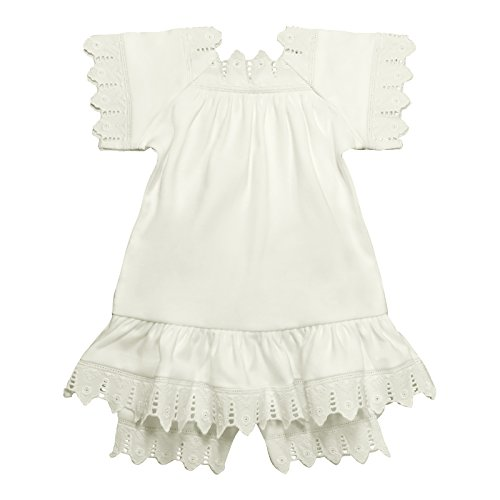 Victorian Organics Baby Girl Chemise Dress and Bloomer Organic Cotton and Lace Infant 2 Piece Set (12M 12-18 Months, Off-White)
